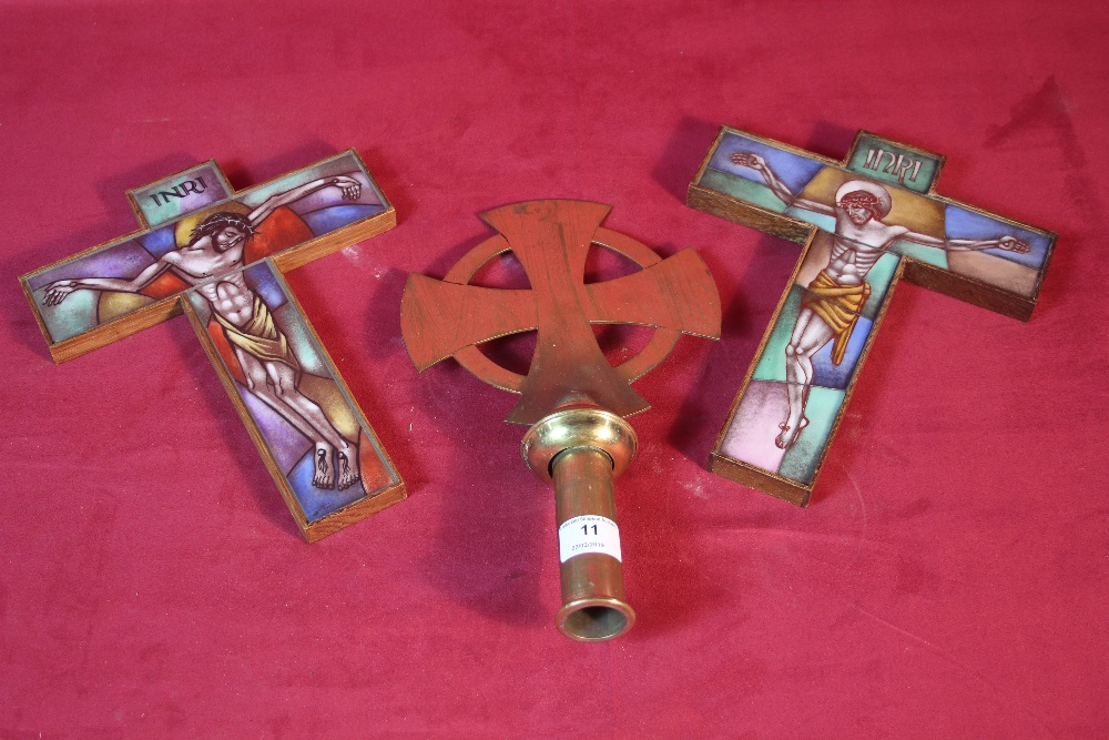 Lot 11 - A pair of ornate glass crucifix and a brass Celtic