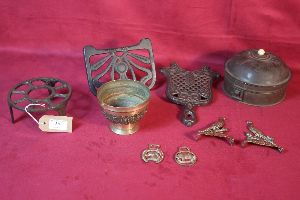 Lot 38 - A decorative bellmetal footed bowl; tin spice box;