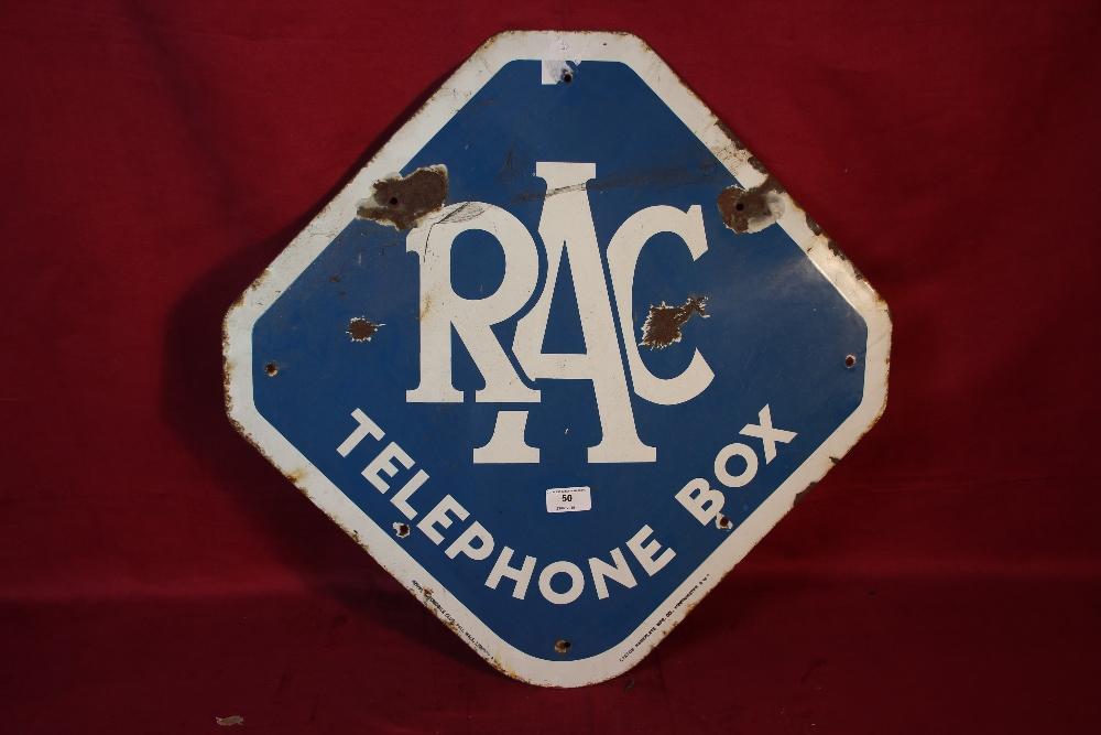 """Lot 50 - An octagonal RAC telephone box enamel sign, (22.5"""""""