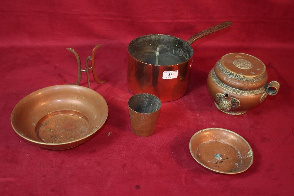 Lot 25 - A copper saucepan, copper and brass jug, AF and a