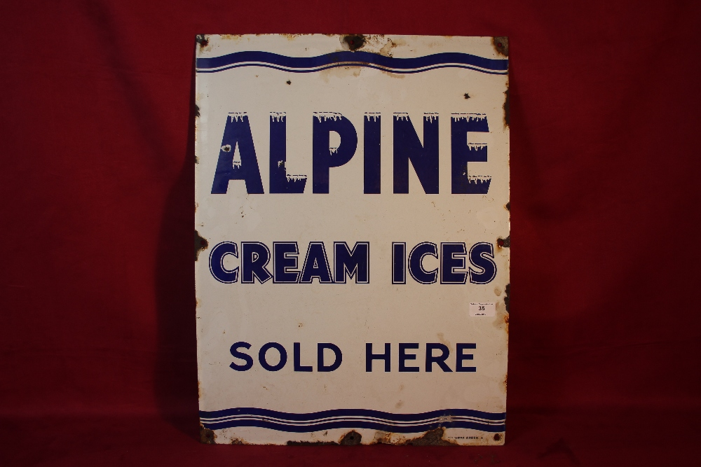 """Lot 35 - An """"Alpine Cream Ices Sold Here"""", enamel sign, (24"""" x 18"""" approx.)"""