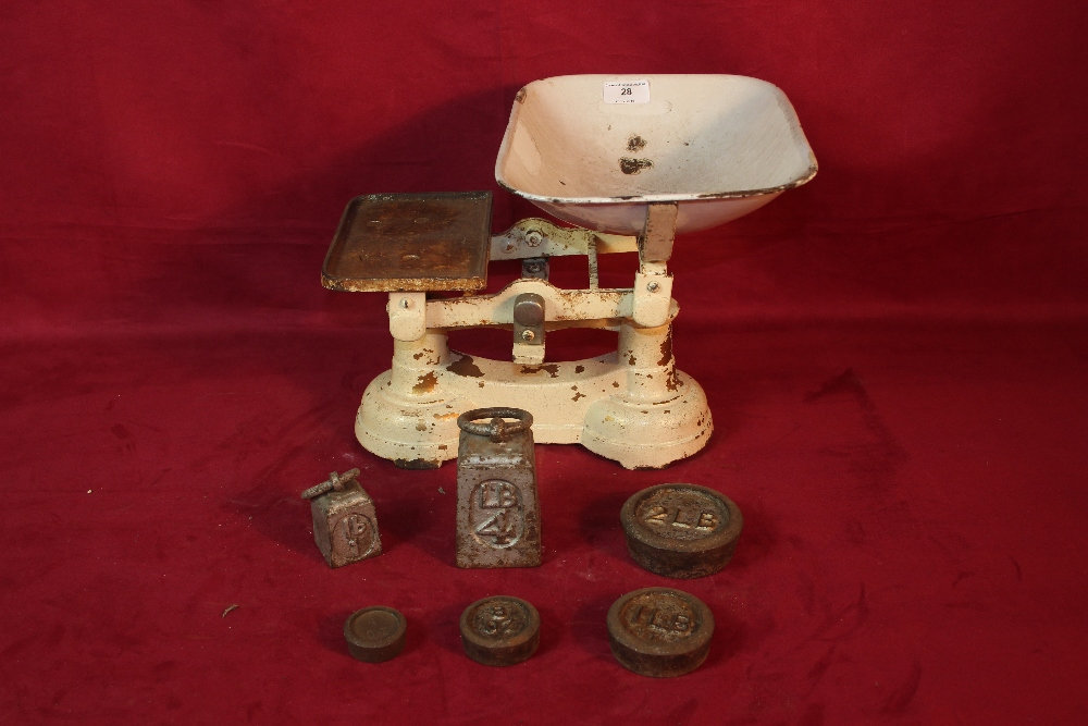 Lot 28 - A set of shop scales and weights