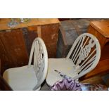 Lot 341 - Thee painted stick and wheel back chairs