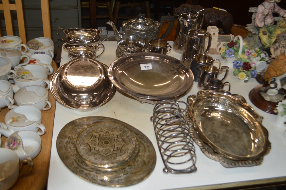 Lot 394 - A quantity of silver platedware to include a tease
