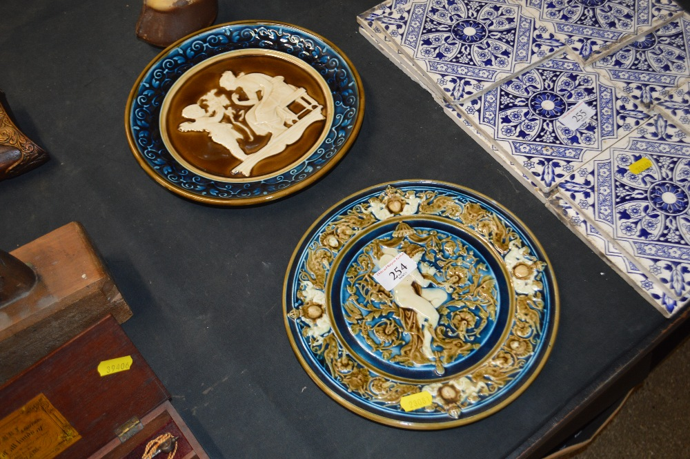 Lot 254 - Two continental pottery plates