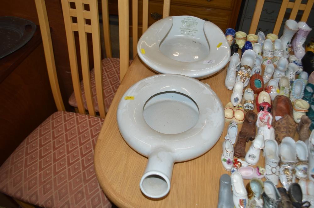 Lot 389 - Two porcelain bedpans