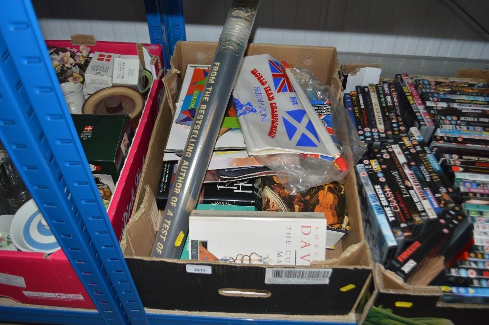 Lot 605 - A box of various books and various memorabilia