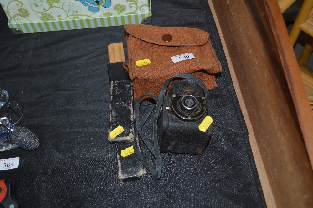 Lot 580 - A Ful-Vue box camera with fitted case; together wi