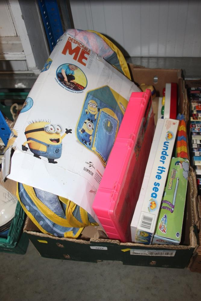 Lot 609 - A box of various children's toys etc