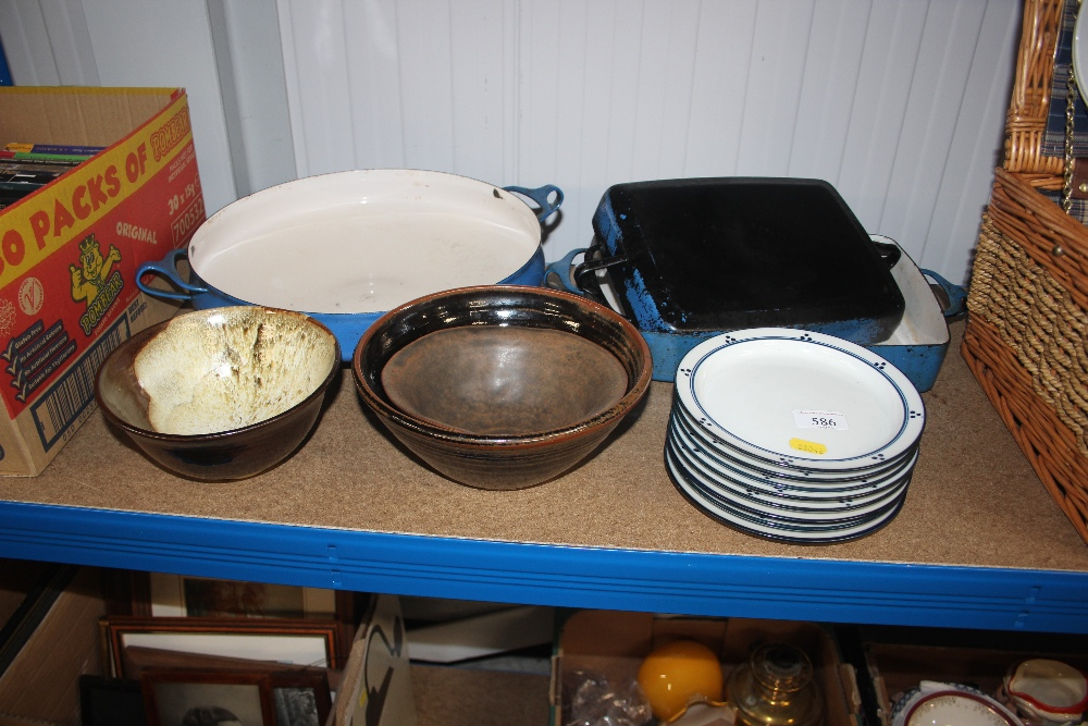 Lot 586 - Three cooking dishes; together with a quantity of