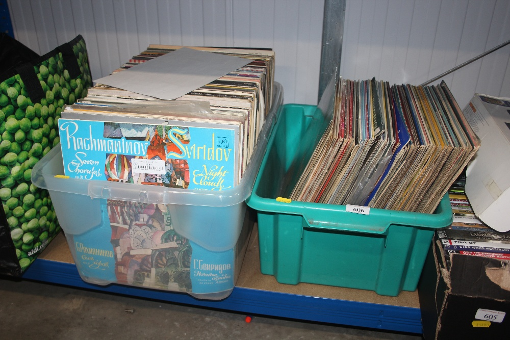 Lot 606 - Two boxes of various LPs