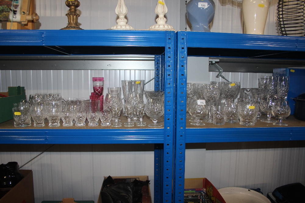 Lot 582 - A large quantity of various cut glass drinking gla