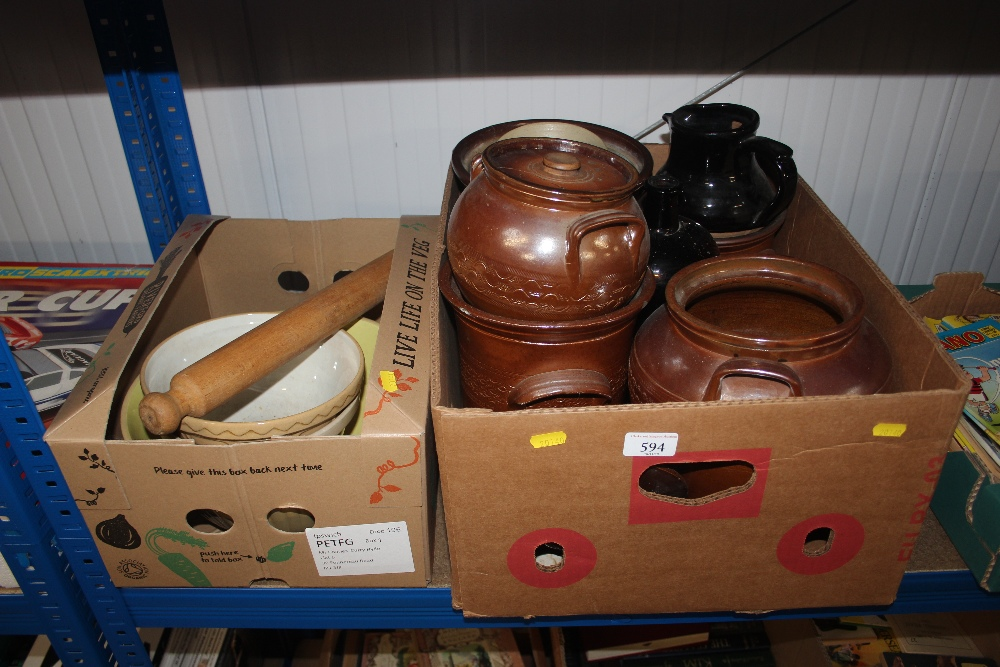 Lot 594 - Two boxes containing mostly salt glazed jars, pots