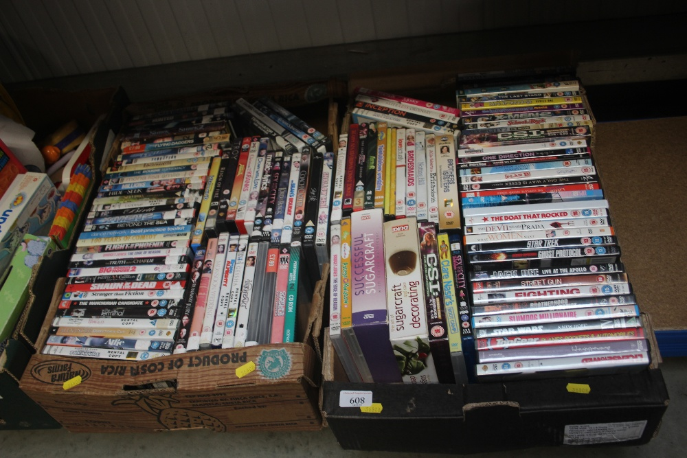 Lot 608 - Two boxes of DVDs