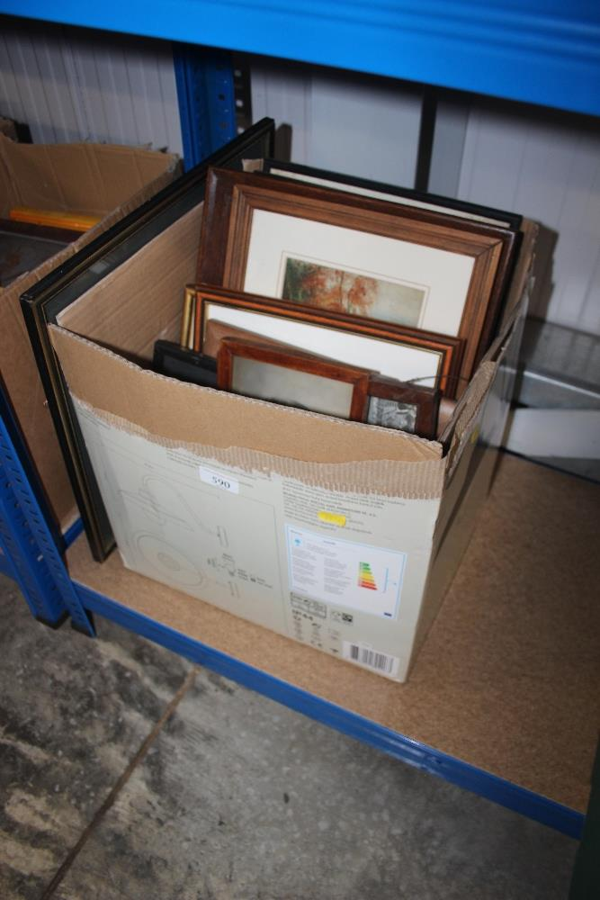 Lot 590 - A box of various pictures and prints