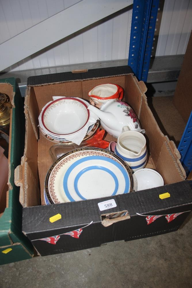 Lot 588 - A box of various decorative china; dinnerware etc