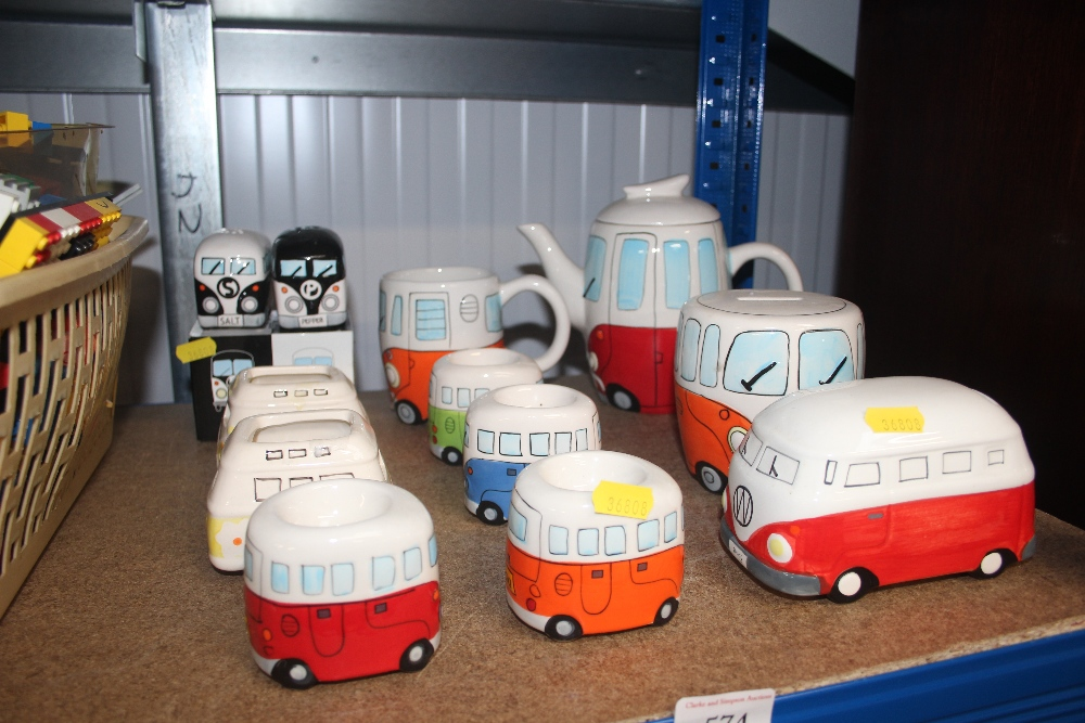 Lot 574 - A quantity of china in the form of VW camper vans