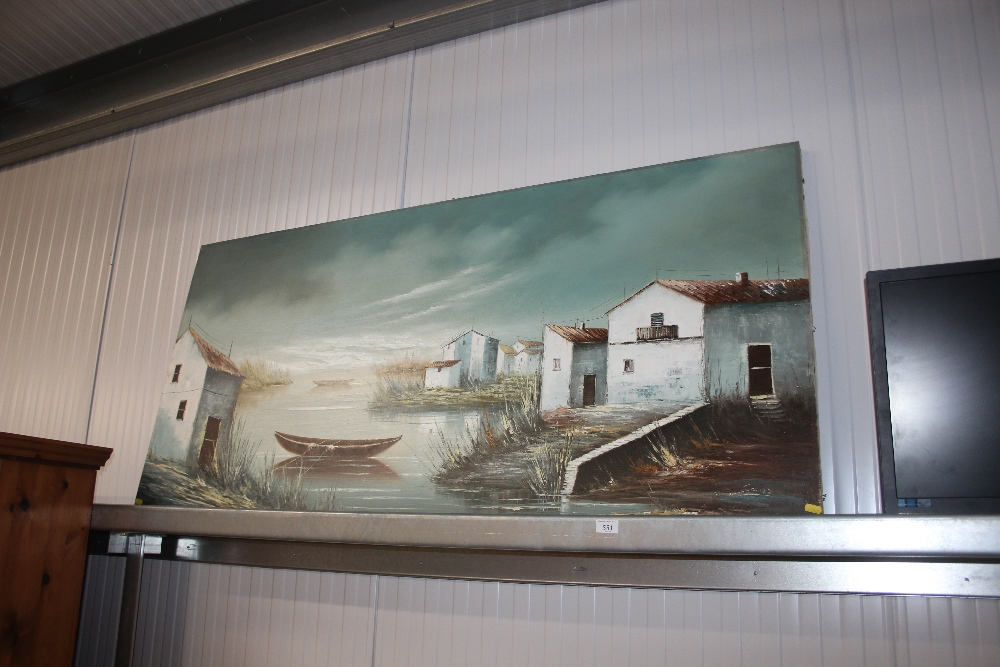 Lot 551 - A large oil on canvas signed to bottom right