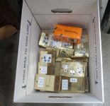 Lot 1476 - Contents to box - brass coated plug points etc.