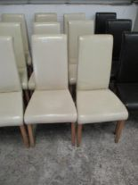 Lot 1386 - 6 x cream leather upholstered high back dining chairs on light wooden feet