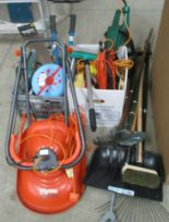 Lot 1468 - Flymo microlite lawnmower and qty gardening tools, car accessories etc.