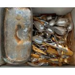 Lot 14 - Contents to box - large quantity of plated table cutlery and a plated tray