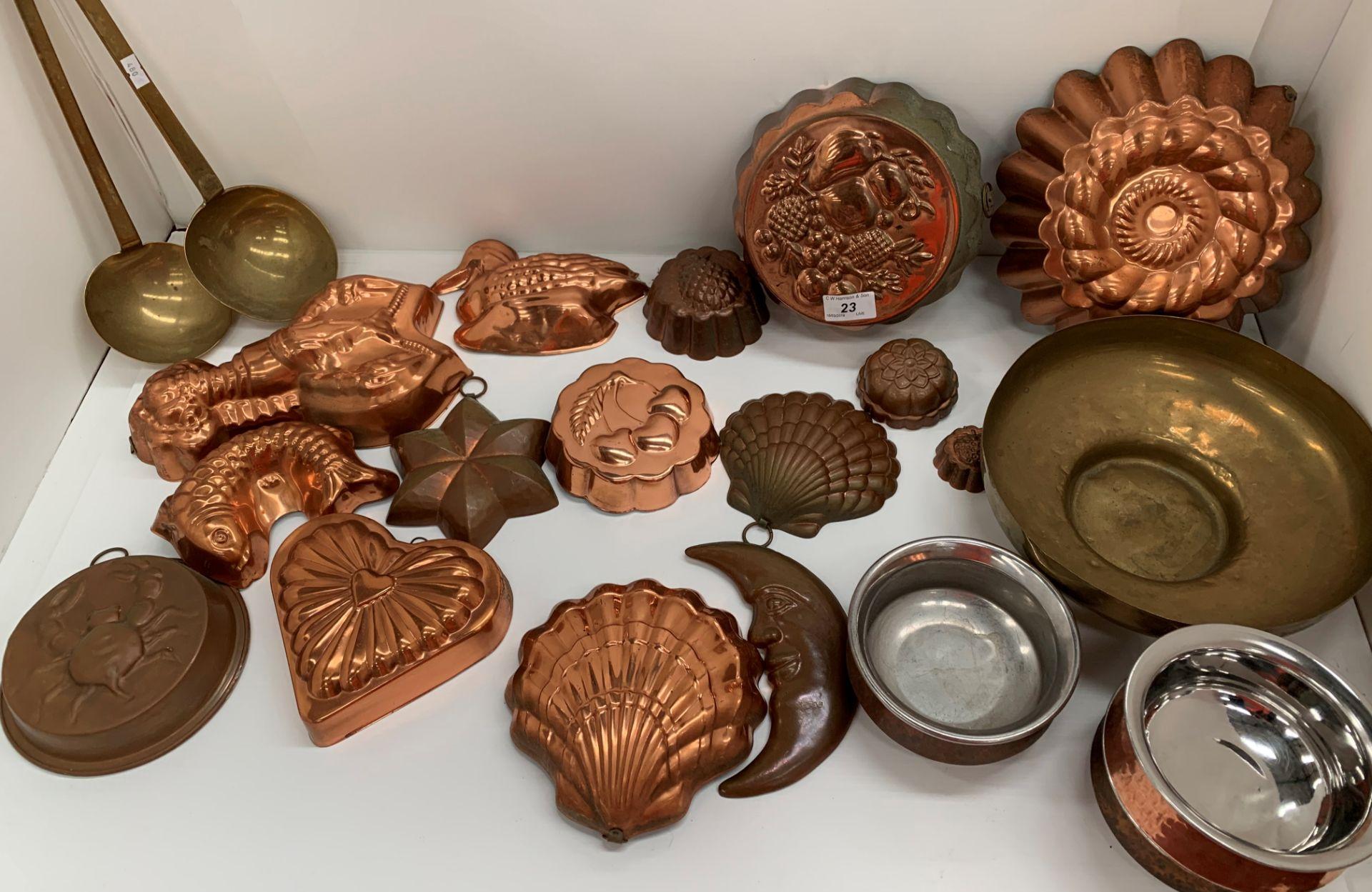 Lot 23 - Copper kitchen moulds, etc.