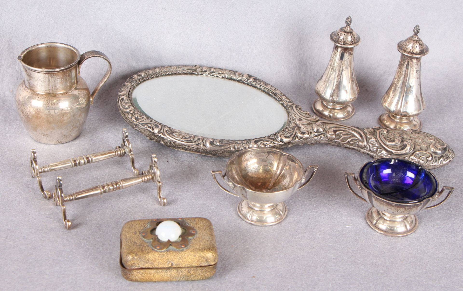 Lot 33 - Silverwares comprising two pairs of condiments, a small baluster jug, plain,