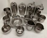 Lot 15 - Contents to plastic box - Old Hall stainless steel tea and coffee pots, milk jugs, etc.