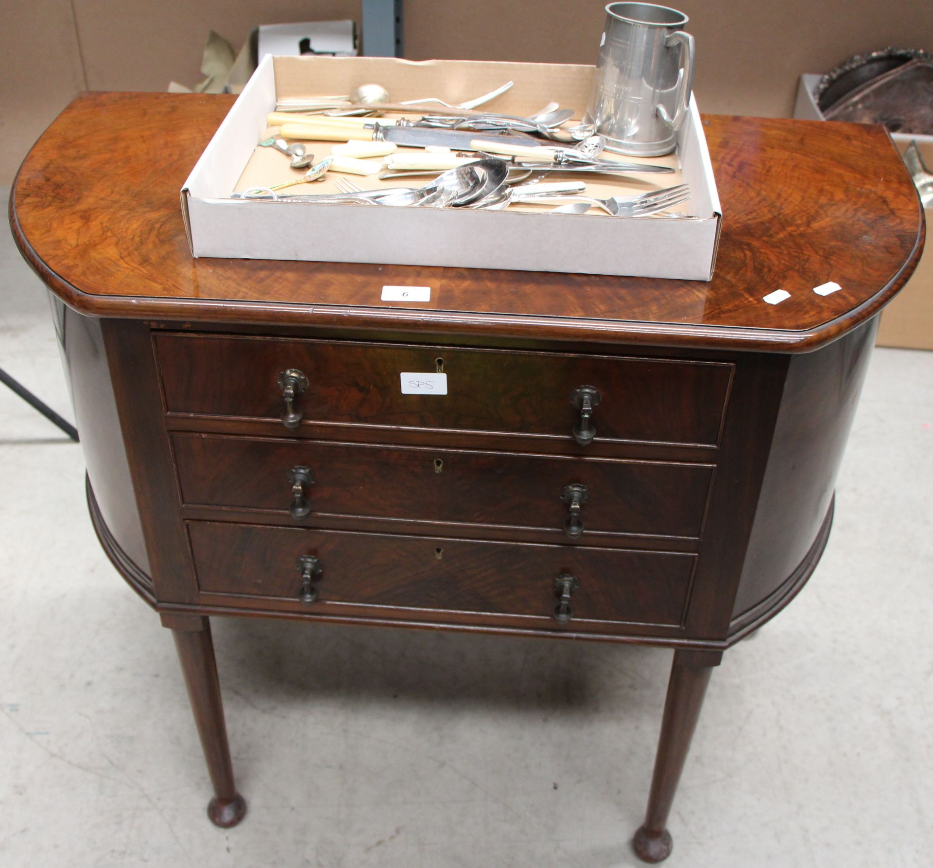 A part suite of plated table cutlery in fitted walnut three drawer table canteen,