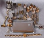Lot 1 - Assorted plate including two caddy spoons, teaspoons, sugar tongs,