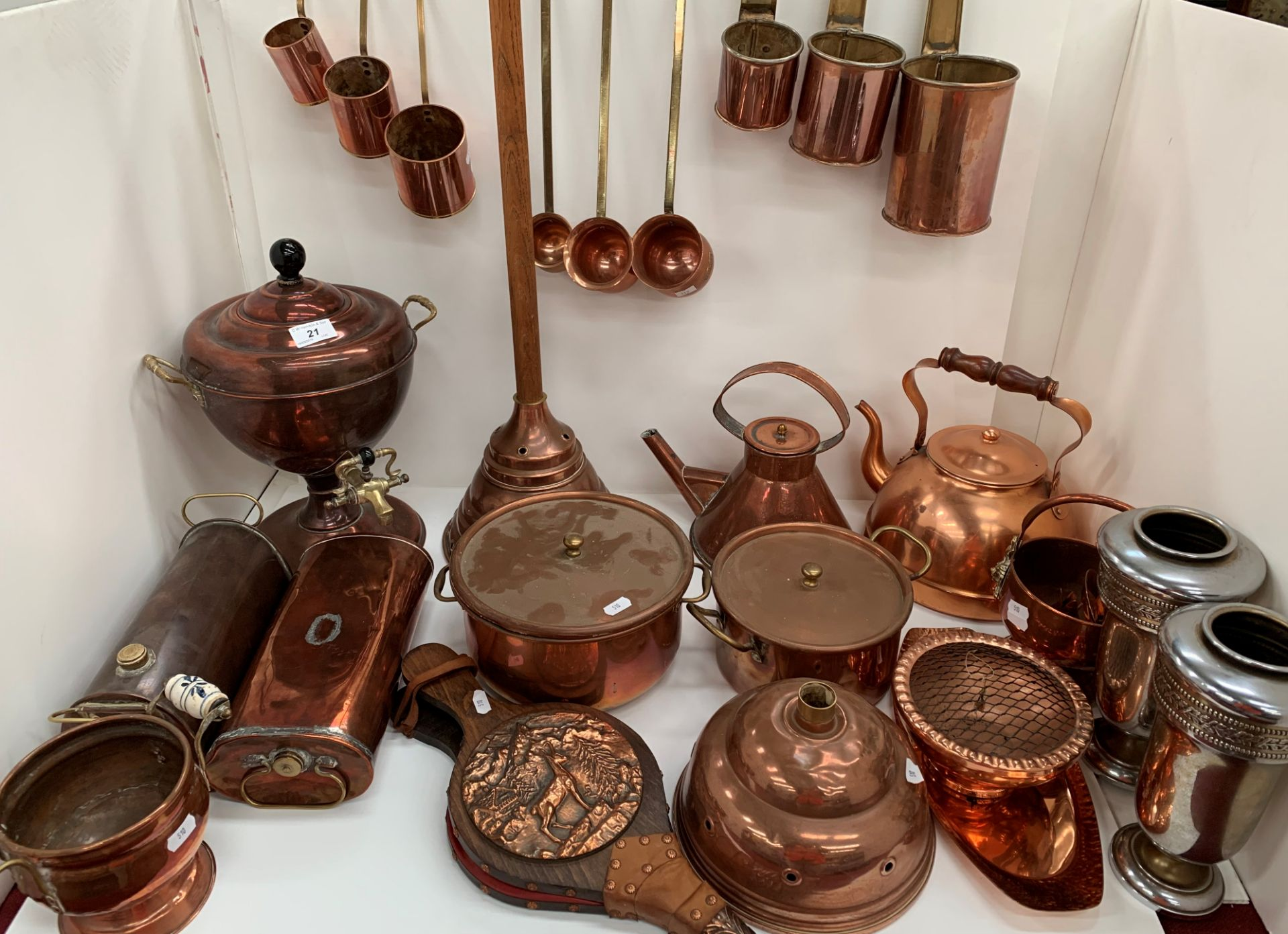 Lot 21 - Contents to two boxes - large quantity of copper kitchenware, samovar, kettles, ale mugs,