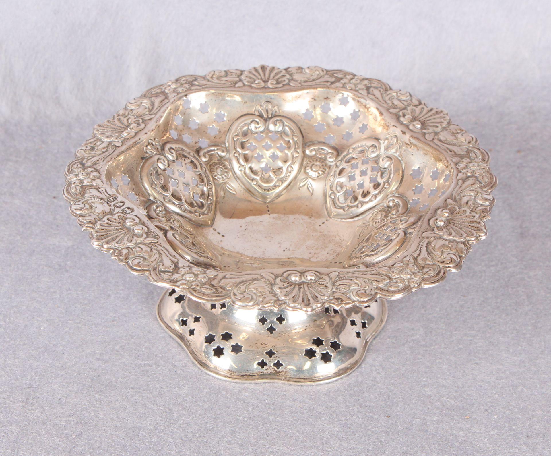 Lot 35 - A Victorian silver pedestal dish with pierced and repoussé decoration,