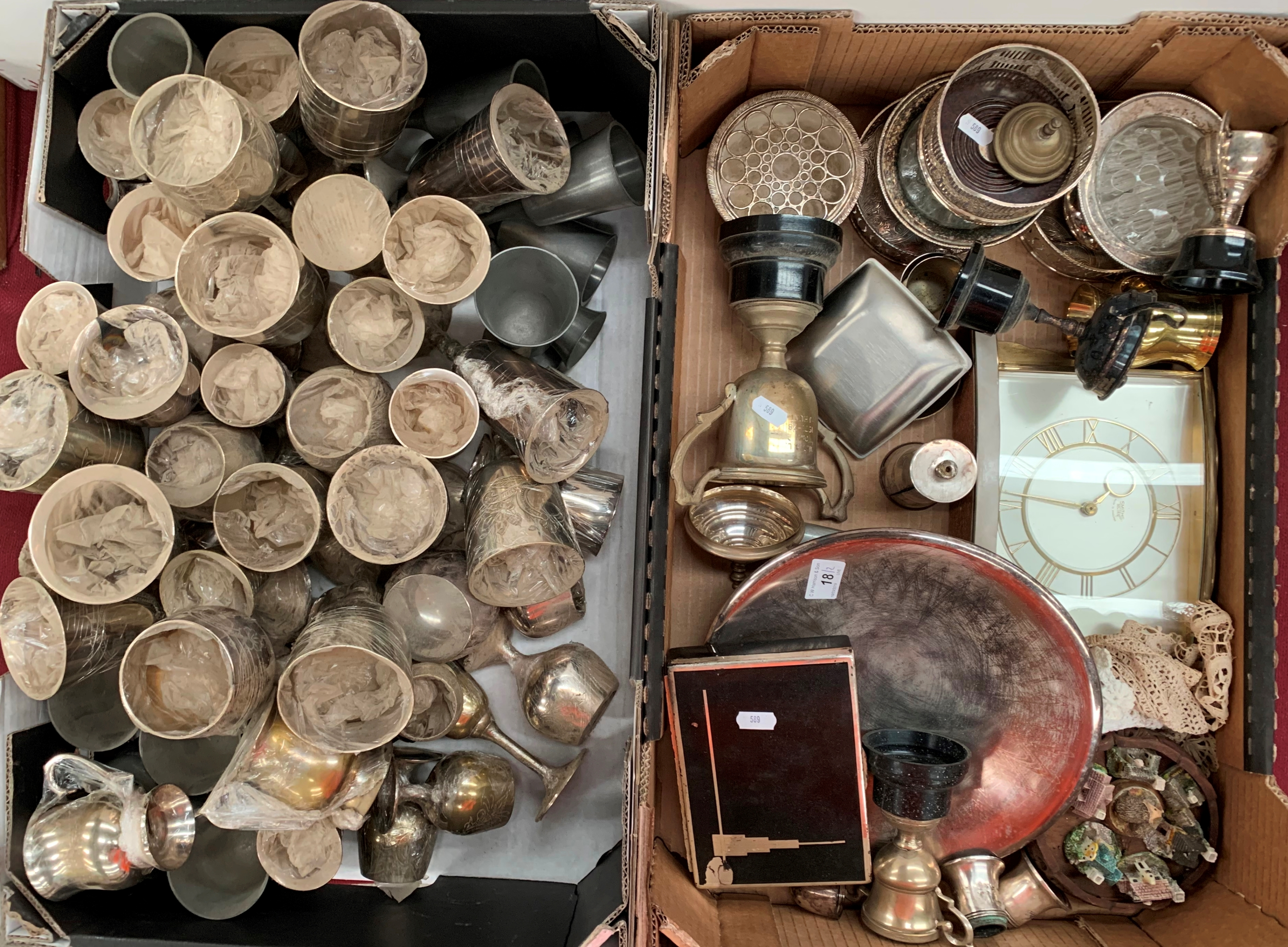 Lot 18 - Contents to two boxes - assorted plated ware, trophies, stylish cigarette box,