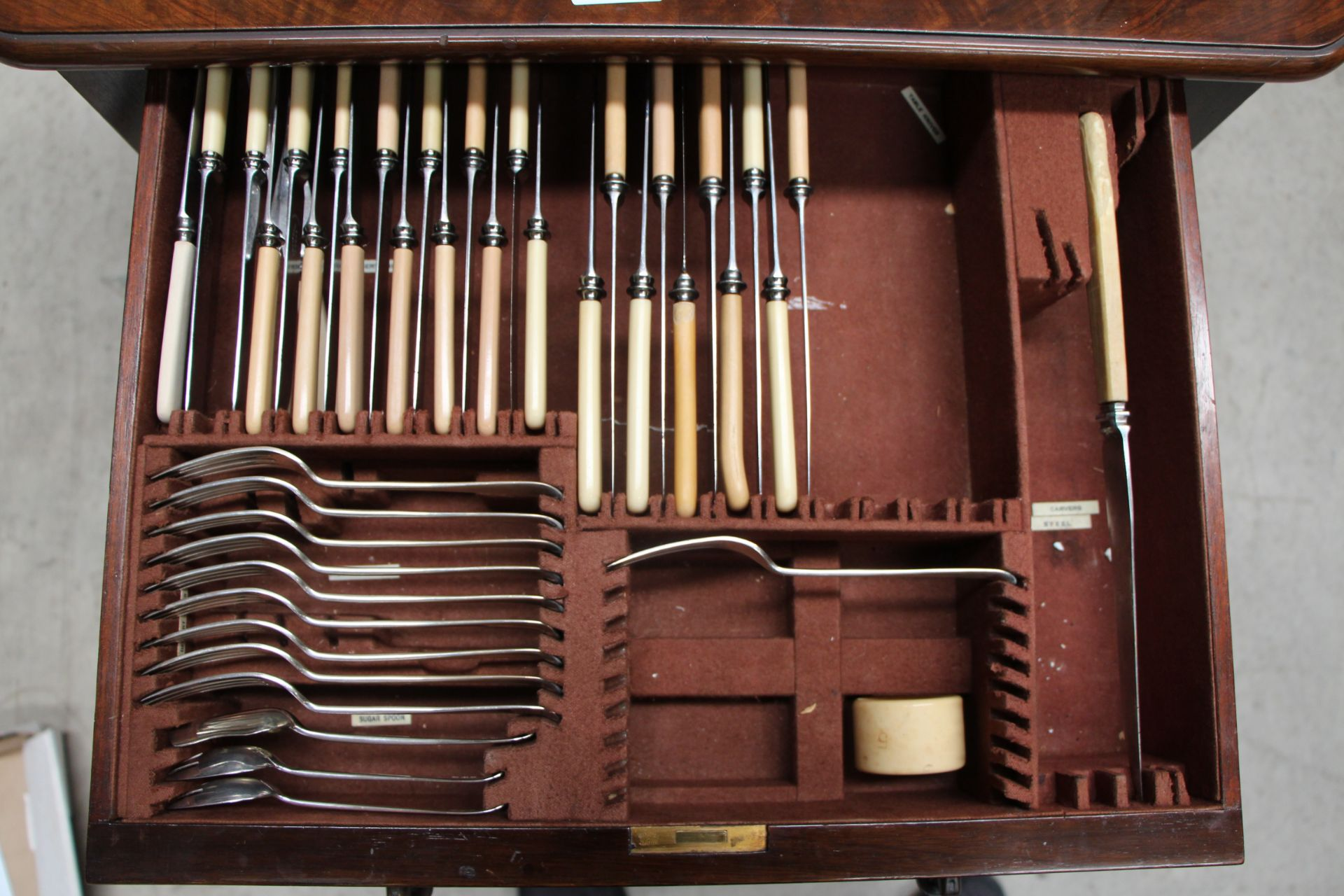 A part suite of plated table cutlery in fitted walnut three drawer table canteen, - Image 3 of 5