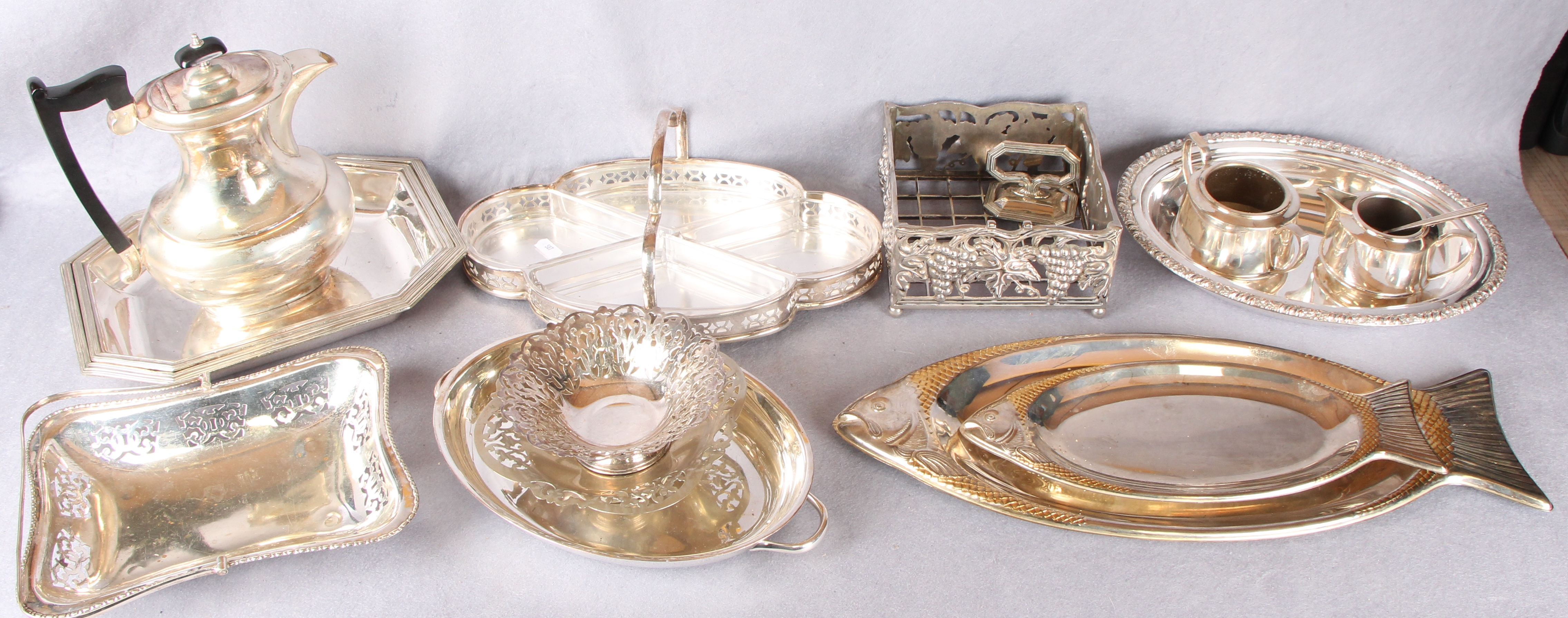 Lot 4 - Two boxes of plated wares including salver, gallery tray, entree dishes, cake baskets,
