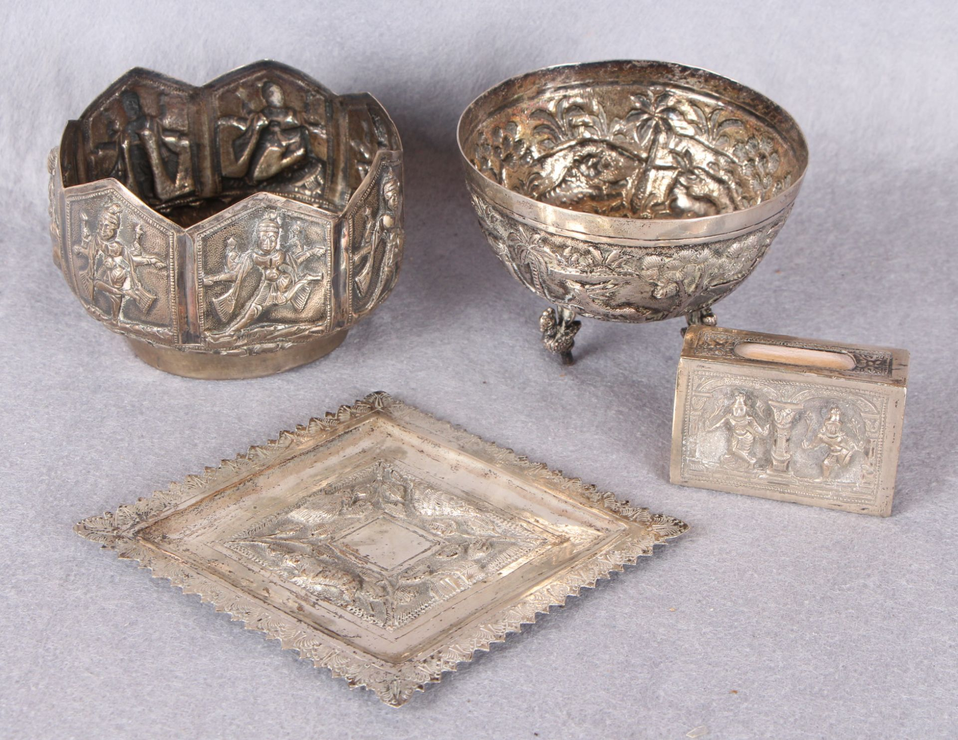 Lot 34 - Four items - Siamese white metal artifacts comprising a circular bowl on zoomorphic feet,