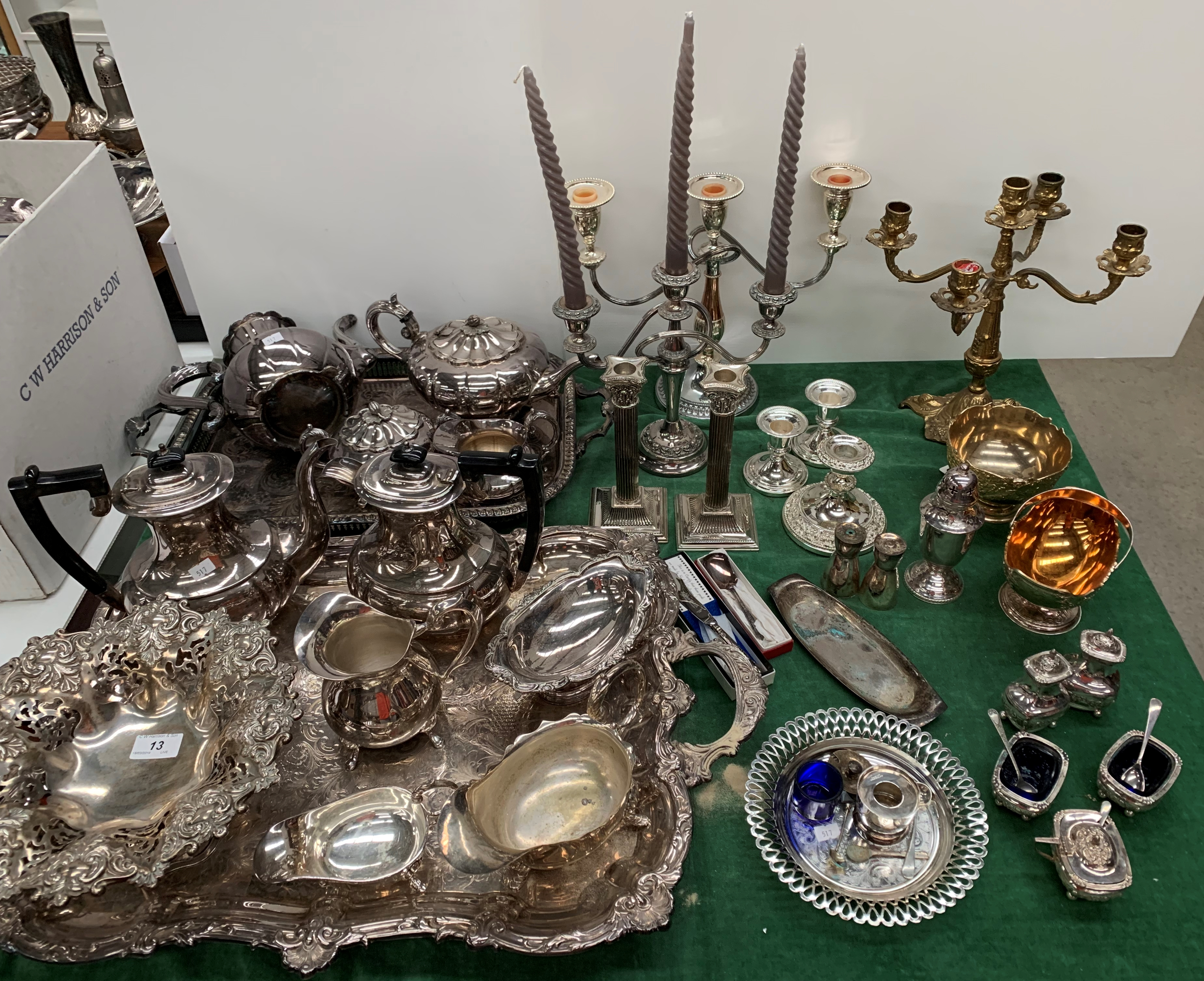 Lot 13 - Contents to table top - a large quantity of plated ware including trays, tea and coffee pots,