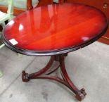 Lot 17 - Old Forge Woodturners oval tilt top side table on tripod base