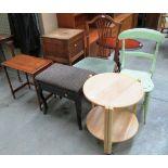 Lot 2 - 6 x items - light oak circular 2 tier trolley, sewing box, piano stool,