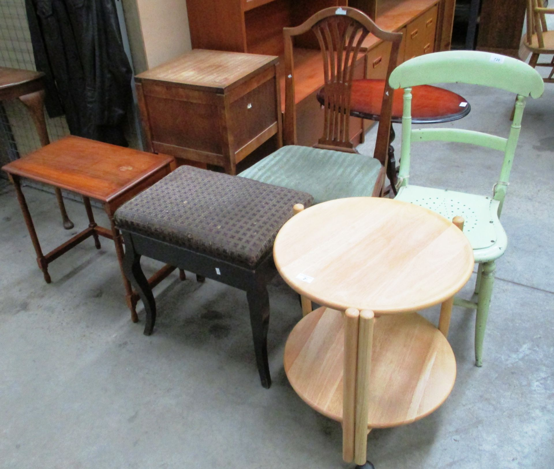 Lot 2 - 6 x items - light oak circular 2 tier trolley, sewing box, piano stool,