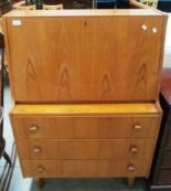 Lot 4 - A teak bureau with fall flap over 3 drawers 84cm