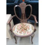 Lot 35 - An Edwardian inlaid open elbow chair
