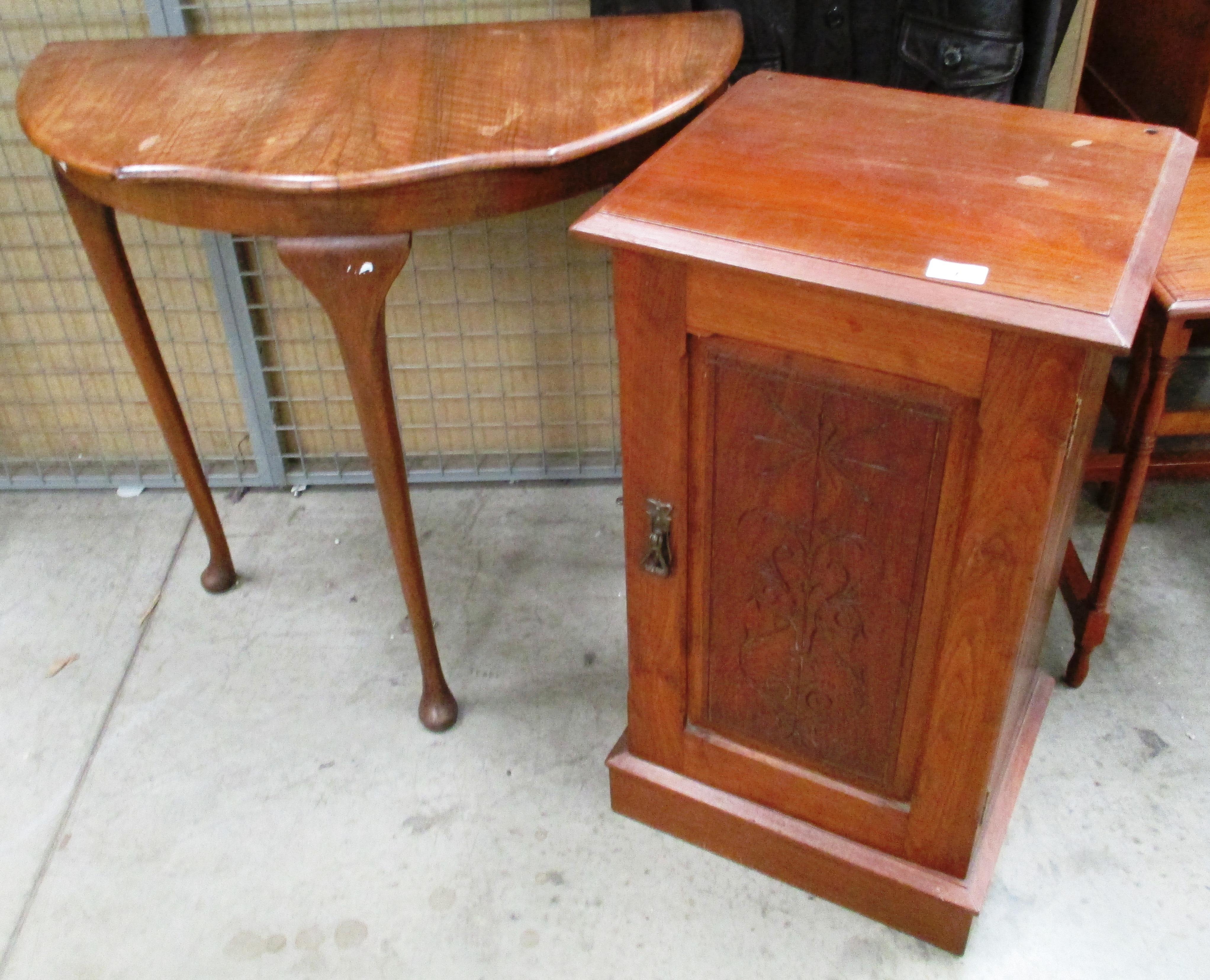 Lot 1E - Walnut half moon hall table and a mahogany single door bedside cabinet (2)