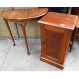 Lot 1E - Walnut half moon hall table and a mahogany single door bedside cabinet (2)