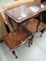 Lot 14 - 3 x walnut coffee tables with glass tops