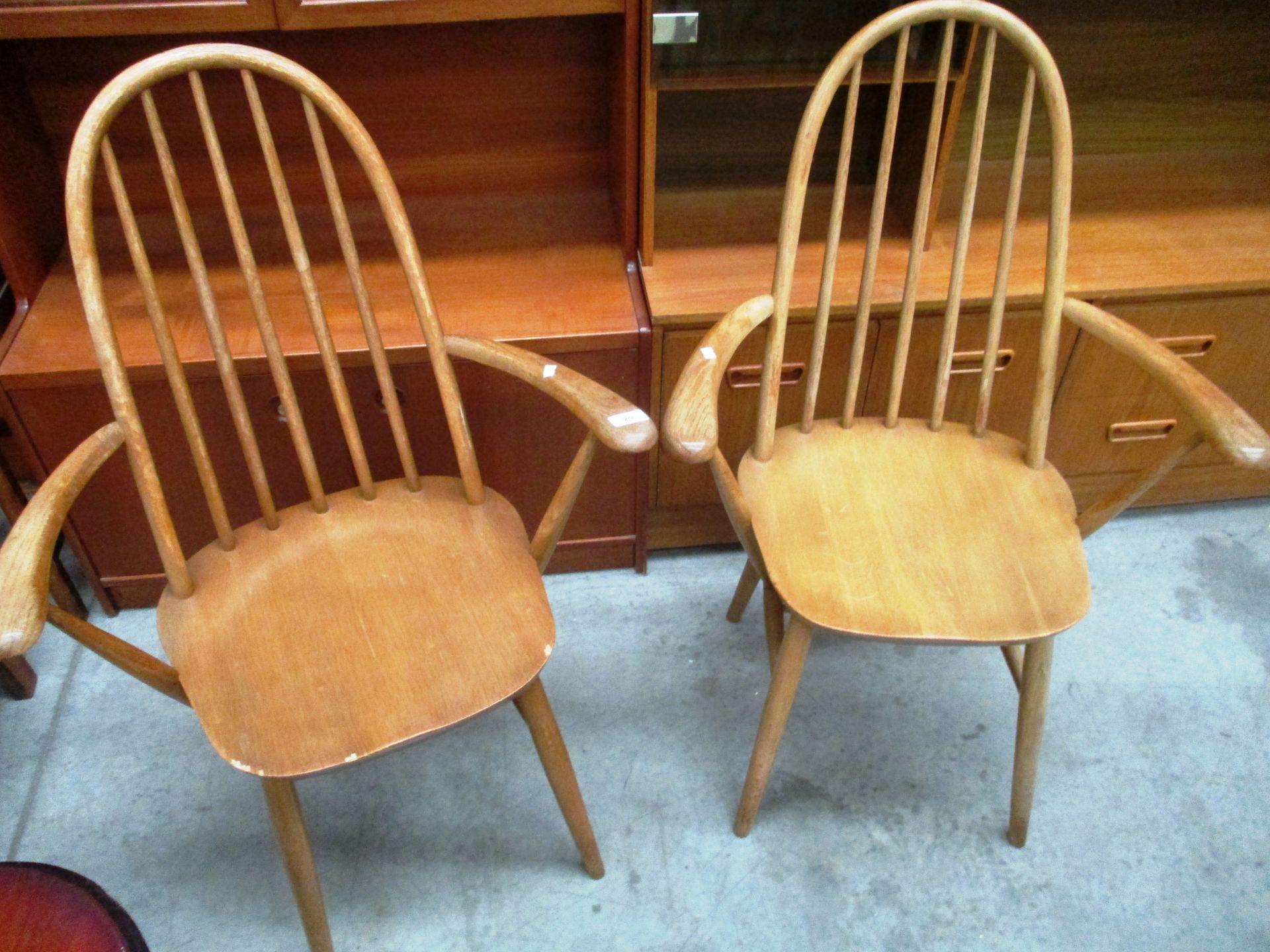 Lot 20 - Pair of Priory light wood hoop back armchairs