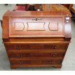 Lot 9 - A walnut finish bureau with fall flap over 3 drawers 83cm long