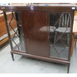 Lot 27 - A mahogany 3 door display cabinet with centre door flanked by astragal display doors on square