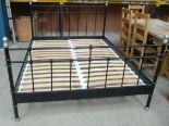 "Lot 12 - Black metal king size bed (5'3"") - no mattress"